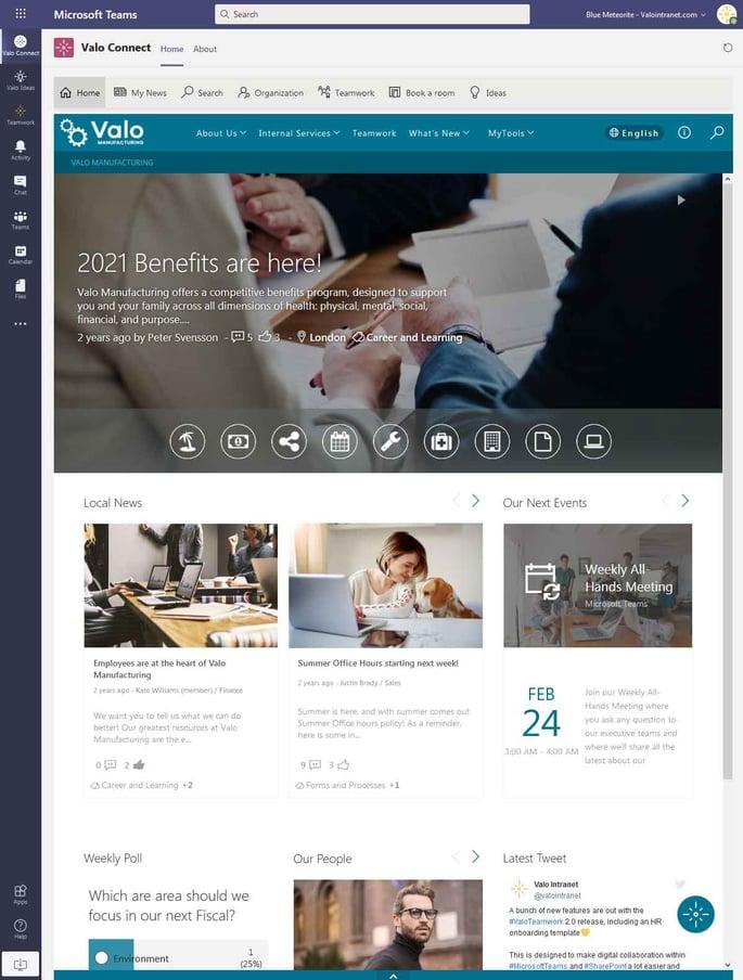 Valo Connect bringt das Social Intranet in Microsoft Teams, Bild: Valo